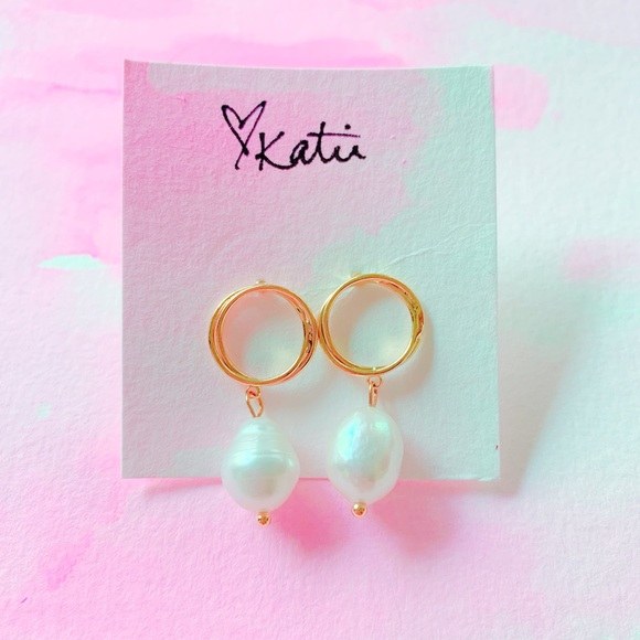 Jewelry - Freshwater Pearl and Gold Drop Earrings